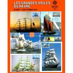 """Cartes postales avec cachet """"Les Grandes Voiles du Havre 2017"""" Série n°1"""