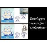 """Enveloppes Premier jour """"L'Hermione"""" avec oblitération du voyage inaugurale"""