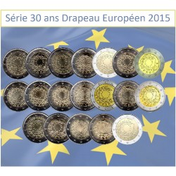 Série 23 pièces 2 Euros commémorative 30 ans Drapeau Européen 2015