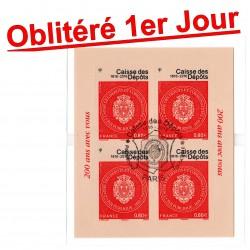 """Bloc """"Bicentenaire Caisse des dépôts et consignations"""" 2016 Oblitéré 1er jour"""