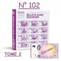"""Billet spécimen n°102 avec classeur billets touristiques """"Euro Souvenir"""" Tome 2"""
