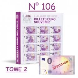 """Billet spécimen n°106 avec classeur billets touristiques """"Euro Souvenir"""" Tome 2"""