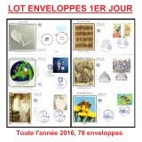 Promo Lot Enveloppes 1er jour, toute l'année 2016 (78 documents)