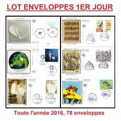 Lot Enveloppes 1er jour, toute l'année 2016 (78 documents)