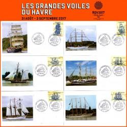 """Enveloppes philatéliques """"Les Grandes Voiles du Havre 2017"""" Série n°1"""