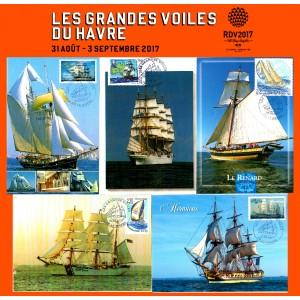 """Cartes postales avec cachet """"Les Grandes Voiles du Havre 2017"""" Série n°2"""