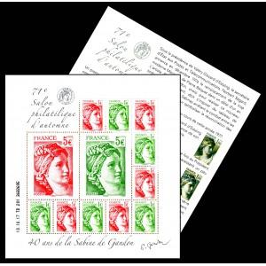 Bloc Feuillet 71ème Salon philatélique d'Automne 2017 - 40 ans de la Sabine de Gandon