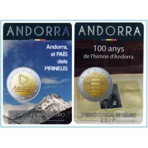 Lot des 2 pièces 2 Euros commémorative BU Andorre 2017 Coin Card