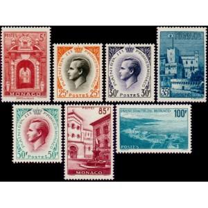 Timbre Monaco n°503 à 509 Prince Rainier III et vues principauté Neuf sans charnière
