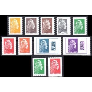 Timbres France Série 11 timbres autocollants Marianne l'Engagée 2018