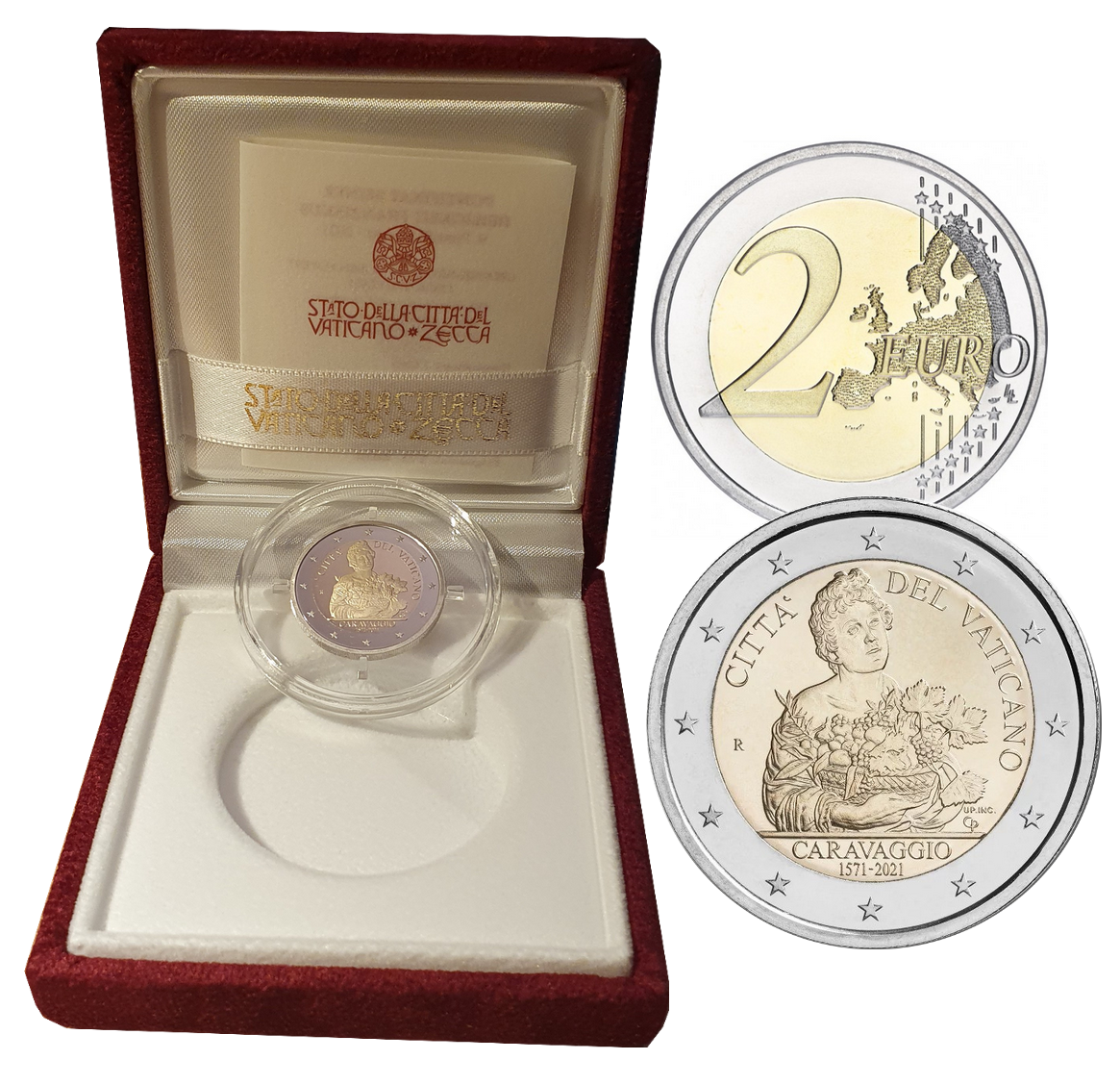 Coffret BE 2 euros commémorative Vatican 2021 Caravage