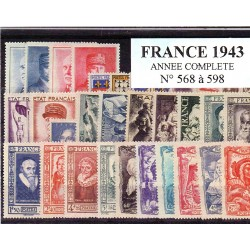 Timbres France 1943 année...