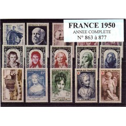 Timbres France 1950 année...