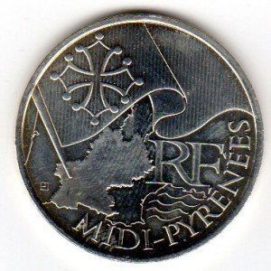 10 Euros Commémorative Argent Midi-Pyrénées 2010