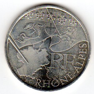 10 Euros Commémorative Argent Rhône-Alpes 2010