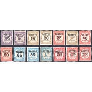 Timbre Monaco n°140 à 153 Timbres-taxe surchargés Neuf sans charnière