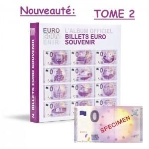 """Classeur préimprimé pour billets touristiques """"Euro Souvenir"""" avec billet spécimen Tome 2"""